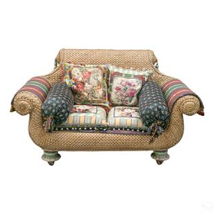 Mackenzie Childs Designer Wicker Settee w/ Pillows