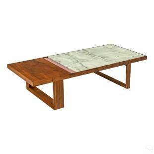 ION Design Astor Modern Wood & Marble Coffee Table