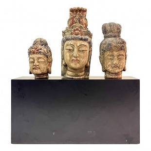 Asian Wooden Buddha Goodness Trio Head Bust w Base