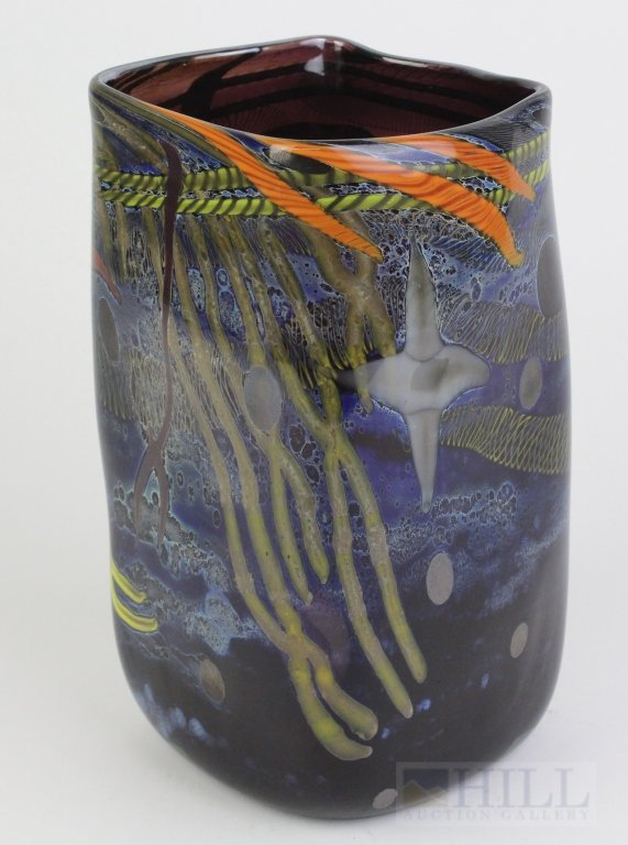 "Signed KENNY WALTON Studio Art Glass 8"" Modernist Vase"