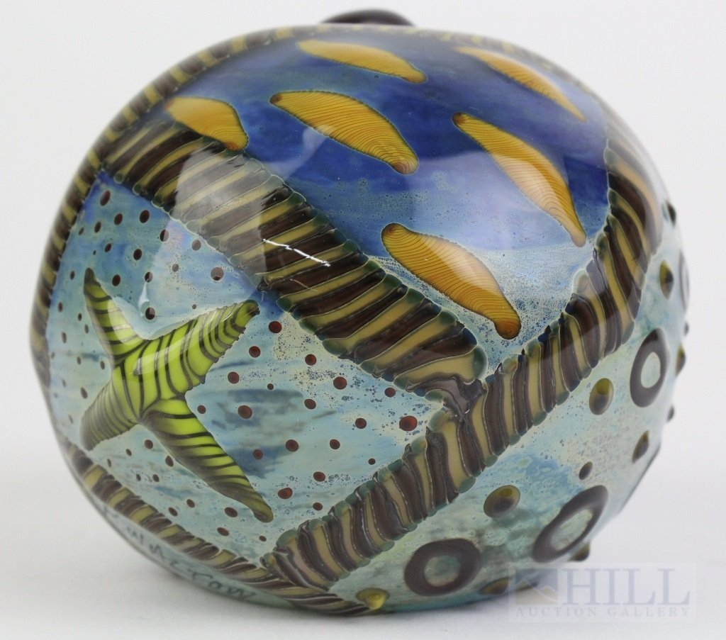"Signed Kenny Walton Studio Art Glass 3.5"" Paperweight"
