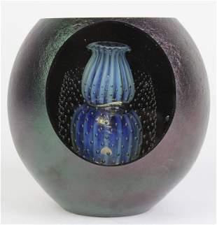 Large ROBERT EICKHOLT Studio Art Glass Paperweight
