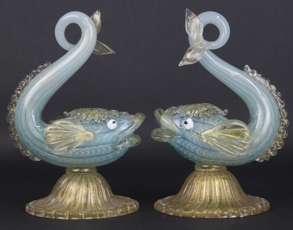 "Pair of Murano Art Glass Dolphin 11"" Fish Sculptures"