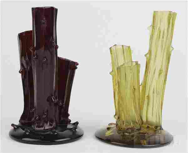 Pair of STEUBEN Red Amber Art Glass 3 Prong Stump Vases