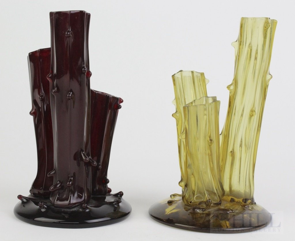 Pair of STEUBEN Red Amber Art Glass 3 Prong Stump Vases