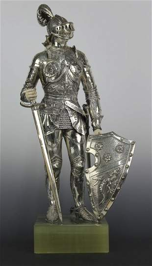 Continental 925 Sterling Silver Carved Knight