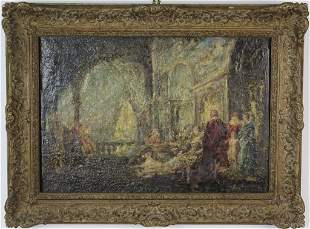 Signed Adolphe Monticelli Palace Scene Oil Painting