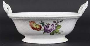 "18th Century German Meissen Floral Porcelain 9"" Basket"