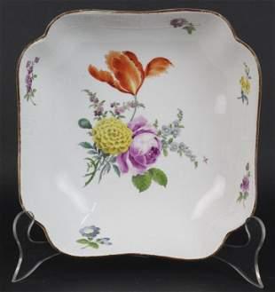 """18th Century Meissen Porcelain Floral 9"""" Serving Bowl"""