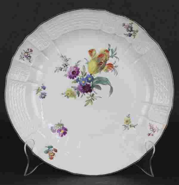 """18th Century German Meissen Porcelain 12"""" Serving Bowl"""