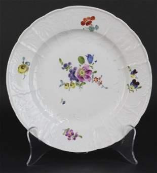 "18th Century Meissen Floral Porcelain 10"" Dinner Plate"