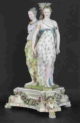 """Antique MEISSEN Figural Graces Porcelain 28"""" Table Base"""
