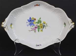Antique German Meissen Floral Porcelain Serving Tray
