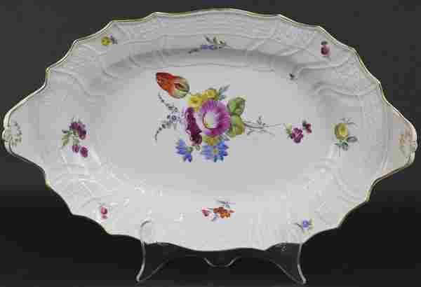 """18th C. Meissen Floral Porcelain Serving 17"""" Platter"""