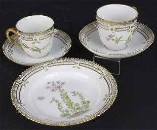 5pc Royal Copenhagen Flora Danica Tea Cup Saucer Plate