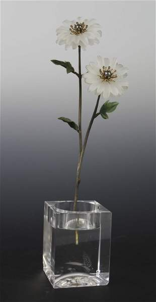 Faberge Style Carved Jade Flower Study Sculpture