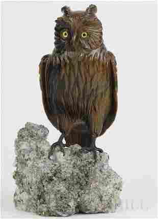 "Zadora Gerlof FINE Carved Tigers Eye 5.75"" Owl Figurine"