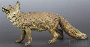 "Solid Cast Cold Painted Vienna Bronze Fox 6"" Figurine"