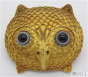 Rare Antique Signed CASTELLANI 18k Etruscan Owl Brooch