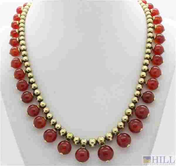 "Retro Period 14k Gold Carnelian Agate 17.5"" Necklace"