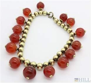 "Retro Period 14k Gold Agate Carnelian 7.25"" Bracelet"