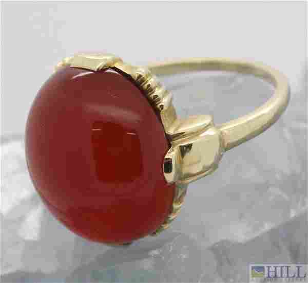 Retro Period 14k Cabochon Agate Carnelian Ring Sz 6.5