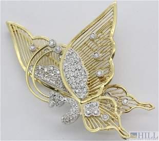 18k 3/4 Ct TW Diamond Butterfly Trembler Pin Brooch