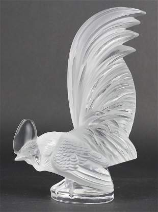 Signed Lalique France Crystal Coq Nain Rooster Figurine