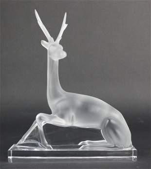 "Lalique Cerf Deer Stag Art Glass Crystal 10"" Sculpture"