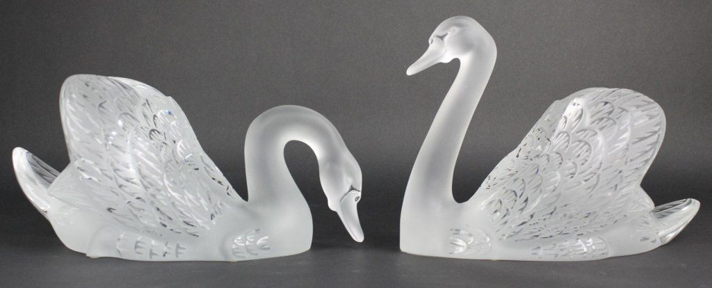Pair Of Lalique LARGE Swans French Art Glass Sculpture