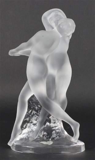 """Lalique Deux Danseus Nude Couple Glass 10.25"""" Sculpture"""