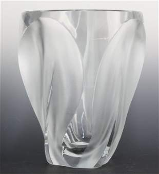"""Signed Lalique France Ingrid Frosted Crystal 8.5"""" Vase"""