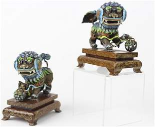 Pair of Chinese Wire Silver Filigree Enamel Foo Dogs