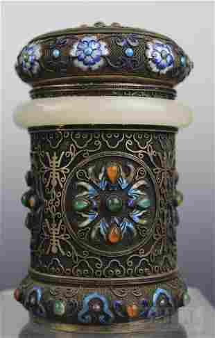 Chinese Silver Jeweled White Jade Bracelet Lidded Box