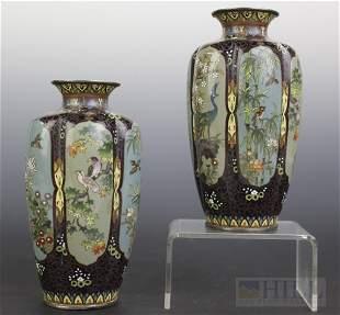 """Pair of Meiji Period Japanese Fine Cloissone 5"""" Vases"""