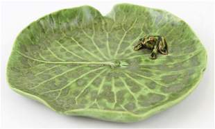 Palm Beach DODIE THAYER Lily Pad Frog Pottery Dish Tray