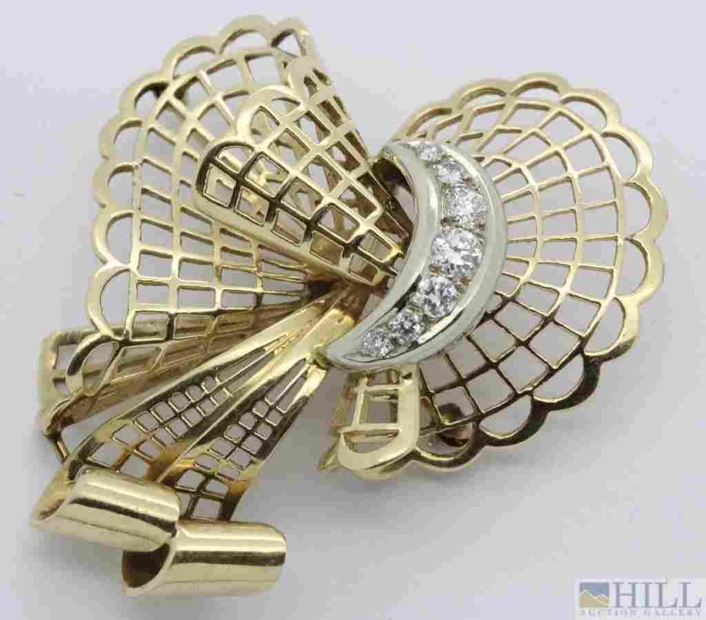 Fine 14k Gold Retro Period Diamond Bow Brooch Pin