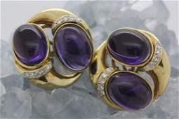 Pair of Designer 18k Gold Amethyst Diamond Earrings