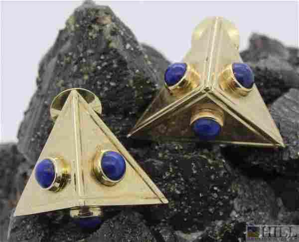 Pair 14k Mid Century Modernist Blue Lapis Earrings