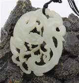 Fine Chinese White Jade Filigree Dragon Necklace
