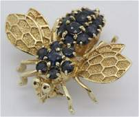 14k Gold 2 CT TW Blue Sapphire Bumble Bee Pin Brooch