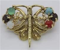 14k Gold Victorian Revival Gem Set Butterfly Brooch Pin
