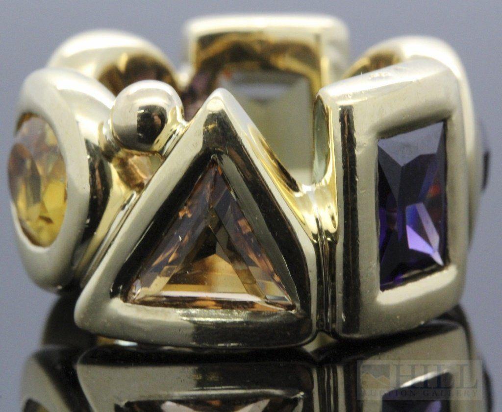CHANEL 18k 750 Yellow Gold Gemstone Ruby Citrine Ring