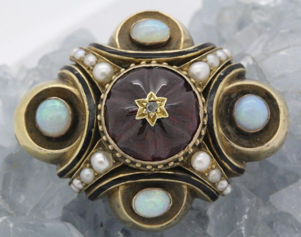 Victorian Etruscan Revival 14k Gold Opal Pearl Brooch