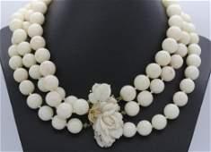14k Carved Rose 3 Strand Angel Skin Coral 16 Necklace