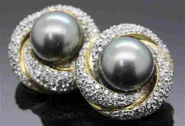 PAIR of 14K Gold Grey 11mm Pearl Pave Diamond Earrings