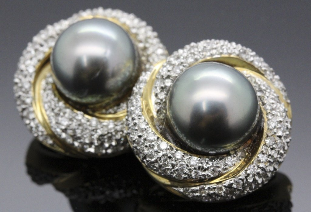 PAIR of 14K Gold Grey 11mm Pearl Pave Diamond Earrings