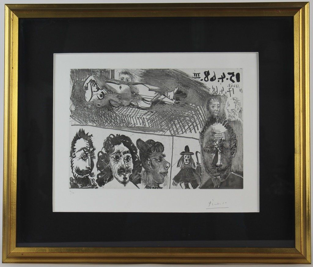 Pencil Signed PABLO PICASSO el Greco Portrait Etching