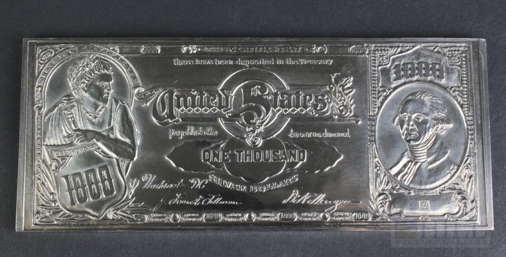 United States $1000 Pure Silver Dollars Certificate Bar