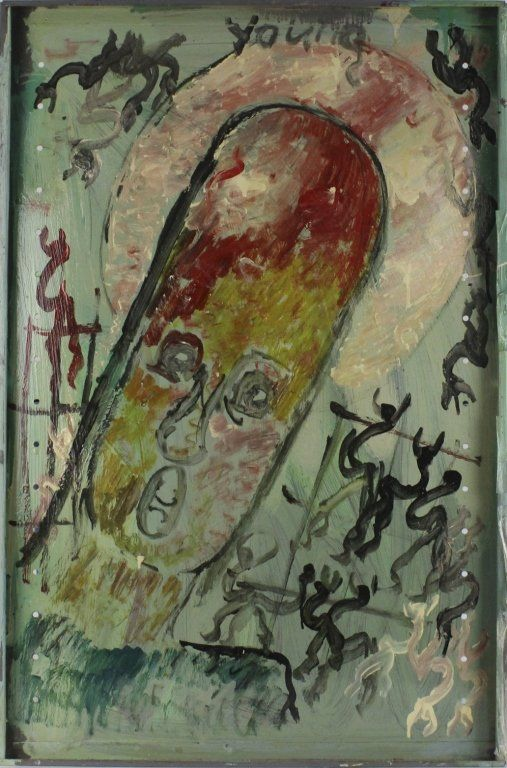 Purvis Young Angel Head Outsider Art Oil Painting